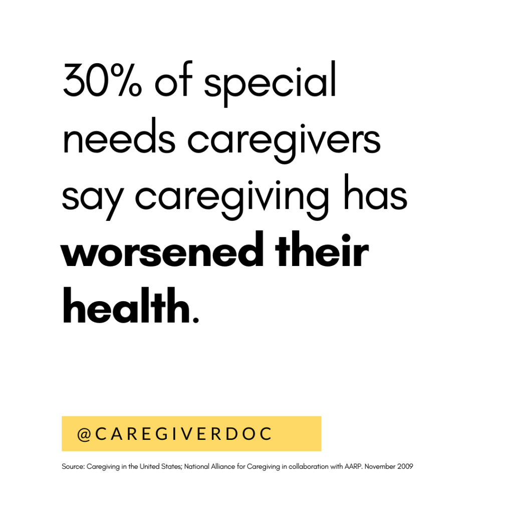 30% of caregivers say caregiving has worsened their health
